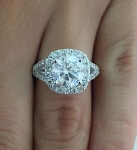 3.50 CT ROUND CUT DSI1 CUSHION HALO DIAMOND ENGAGEMENT RING 14K WHITE GOLD