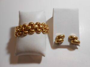 Napier Goldtone Half Round & Rectangle Link Bracelet & Earrings Set