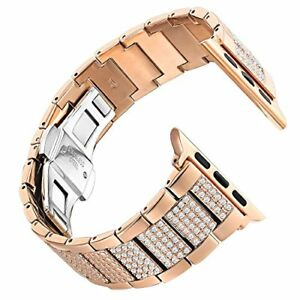 Leefrei Copper Alloy Watch Band Metal Replacement Strap with Rhinestone for 3 2