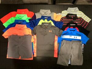 LARGE LOT Boys Under Armour Uniform Golf Polo Shirts and Pants -Youth Small YS