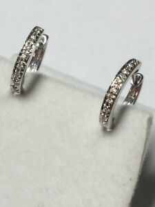 Small 14K 585 Pave Diamond White Gold hoop earrings fit Jude Frances charms