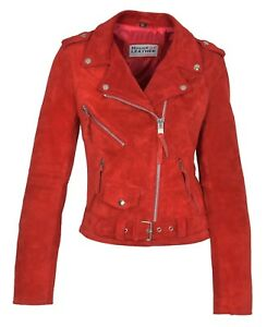 Womens Genuine Red Suede Biker Leather Jacket Girls X-Zip Fitted Designer Coat
