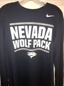 Mens NEW Nike University Nevada Wolf Pack Navy Dri-Fit Long Sleeve Shirt Large L