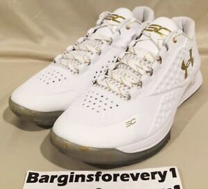 New UA Under Armour Curry 1 Low Championship - Size 12 - White - 1269048-100