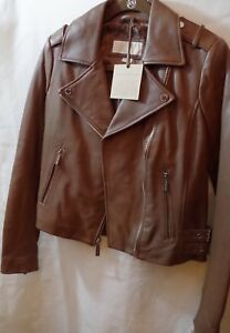 NWT New Michael Kors Vintage Leather Moto Biker Dark Camel Jacket Small S $480
