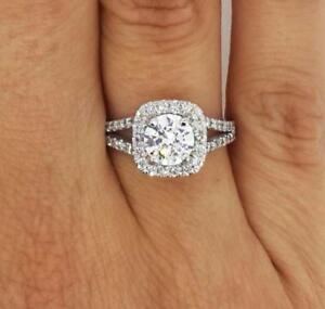 2.25 Carat Round Cut Diamond Engagement Ring VS1F White Gold 14K 260445