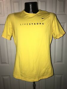Women's Nike Fit Dry Livestrong Short-Sleeve Yellow Running Shirt New Rare Large