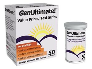 Ultimate GenStrip 50 Test Strips W OneTouch Ultra Meter Blood Priced Test-Strip
