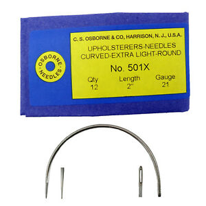 C.S. Osborne Pack Of 12 Curved Needles Extra Light #501X Size 2quot; Made In USA $13.95