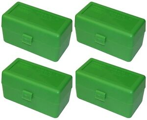 NEW MTM 50 Round Flip-Top 220 Swift 243 308 Win Ammo Box - Green (4 Pack)