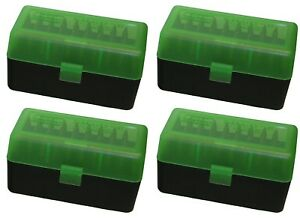 NEW MTM 50 Round Flip-Top 220 Swift 243 308 Win Ammo Box - Green Black (4 Pack)