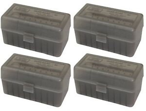 NEW MTM 50 Round Flip-Top 220 Swift 243 308 Win Ammo Box - Clear Smoke (4 Pack)