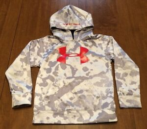 Under Armour UA STORM Boys Size 6 Hoodie White & Gray Camo Camouflage