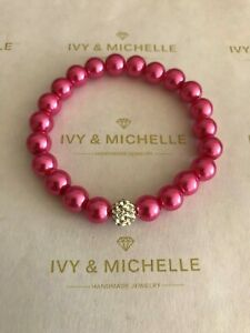 Glass Pearl Hot Pink With Crystal Rhinestones Pave Clay Bead
