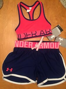 Under Armour Kids Girls Youth XS Sports Bra & Shorts Athletic Outfit NWT Free Sh