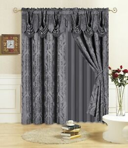 All American Collection New 4 Piece Drape Set with Attached Valance and Sheer