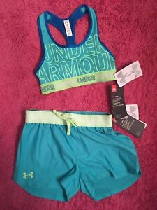 Under Armour Kids Girls Suze Youth Small Active Wear Sprts Bra And Shorts NWT