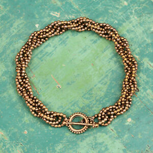 Signed STEPHEN DWECK Twisted Braided Bronze Bead Necklace w Lovely Beaded Clasp