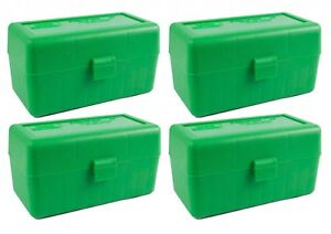 NEW MTM 50 Round Flip-Top .22-250 to 7.62 X 39 Rifle Ammo Box - Green (4 Pack)