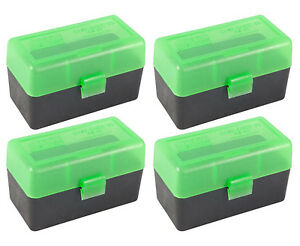 NEW MTM 50 Round Flip-Top .22-2507.62 X 39 Rifle Ammo Box - GreenBlack (4 Pack)