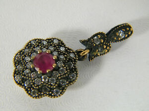 PENDANT:   PREMIUM TURKISH RUBY WH TOPAZ ROUND 925 STERLING SILVER (MARKED)