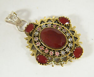 PENDANT:  RICH RED RUBY TURKISH OVAL (18X14MM) 2-TONE HANDMADE WH GOLD OVERLAY