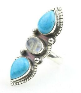 Lost Soul Ring LARGE Sterling Silver Turquoise And Moonstone Ring Statement