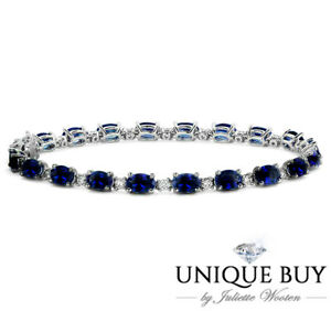 Blue Sapphire Tennis Bracelet Diamond Tennis Bracelet 925 White Gold Wholesale