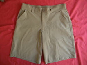 UNDER ARMOUR mens 34  tan Performance Stretch Golf Athletic Shorts FLAT FRONT