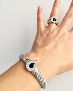 Handmade Turkish Sapphire 925 Sterling Silver Bracelet and Ring Set Jewelry