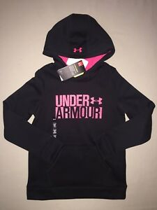 GIRLS SIZE M 10 12 UNDER ARMOUR PULLOVER SWEATSHIRT HOODIE BLACK  PINK NWT