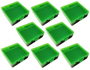 NEW MTM 100 Round Flip-Top 38357 Cal Ammo Box - Green Black (8 Pack)