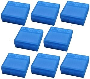 NEW MTM 100 Round Flip-Top 38357 Cal Ammo Box - Clear Blue (8 Pack)