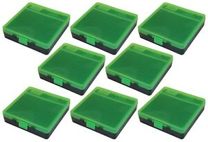 NEW MTM 100 Round Flip-Top 404510MM Cal Ammo Box - Green Black (8 Pack)