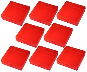 NEW MTM 100 Round Flip-Top 404510MM Cal Ammo Box - Clear Red (8 Pack)