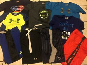 LOT BOYS UNDER ARMOUR SHORTS TOPS YLG LARGE BASEBALL FOOTBALL SUPERMAN