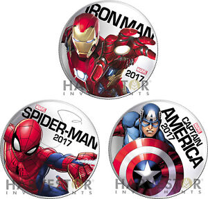 2017 MARVEL LIGHT-UP 3-COIN SET: IRON MAN SPIDER-MAN CAP AMERICA X 50 SETS