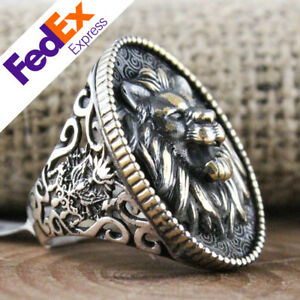 Special Lion Design Turkish Handmade 925 Sterling Silver Gothic Biker Men's Ring