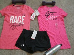 NEW Womens UNDER ARMOUR 3Pc RUNNING Outfit 2Graphic Tops + Shorts MD FREE SHIP!