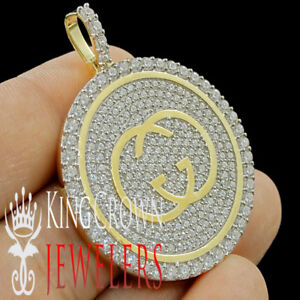 Real Yellow Gold On Silver Mens Custom Designer Piece Simu Diamond Pendant Charm