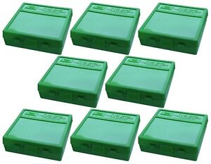 NEW MTM 100 Round Flip-Top 3809MM Ammo Box - Green (8 Pack)