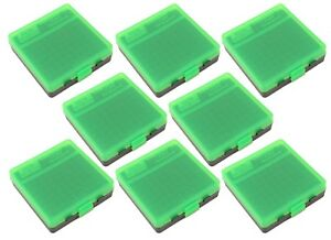 NEW MTM 100 Round Flip-Top 3809MM Ammo Box - Green Black (8 Pack)