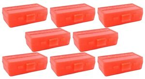 NEW MTM 50 Round Flip-Top 3809MM Cal Ammo Box - Clear Red (8 Pack)