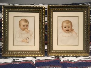 A Pair of Vintage Lithographs Baby Portraits by IDA WAUGH $300.00