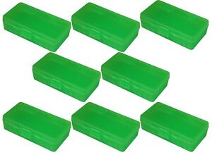 NEW MTM 50 Round Flip-Top 404510MM Cal Ammo Box - Clear Green (8 Pack)