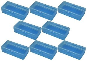 NEW MTM 50 Round Flip-Top 404510MM Cal Ammo Box - Clear Blue (8 Pack)