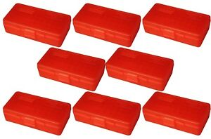 NEW MTM 50 Round Flip-Top 404510MM Cal Ammo Box - Clear Red (8 Pack)
