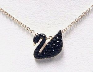 ICONIC BLACK SWAN CRYSTAL SMALL PENDANT ROSE GOLD 2016 SWAROVSKI JEWELRY 5204133