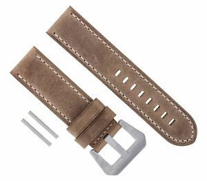 22MM PREMIUM LEATHER STRAP WATCH BAND BRACELET FOR PANERAI SAND WHITE  STITCH#17