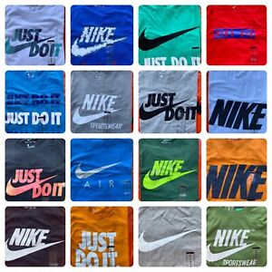 Men#x27;s NIKE T SHIRT S 4XL Graphic Swoosh Just Do It Logo Crew Athletic Fit Tee $18.95